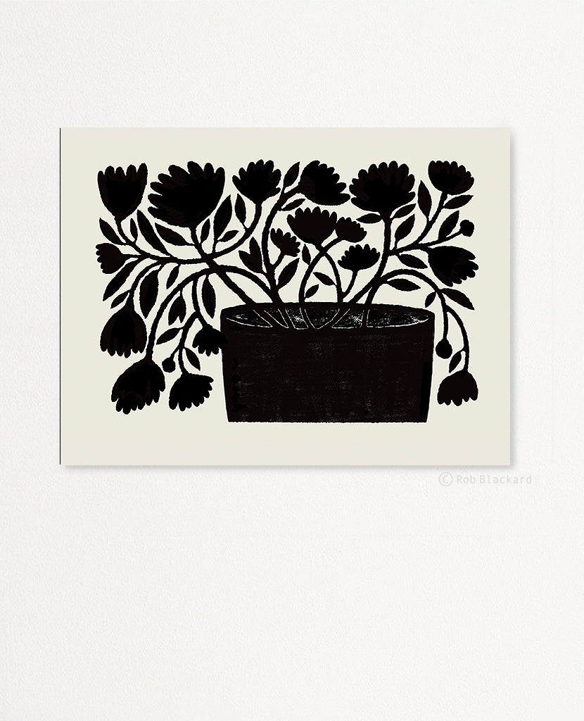 Flowing Black Floral Art Print