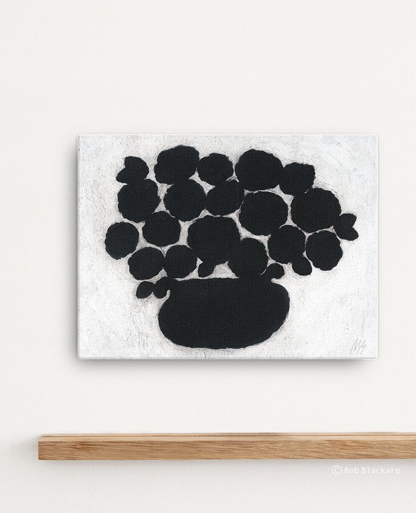Black Flower Pot Canvas Print