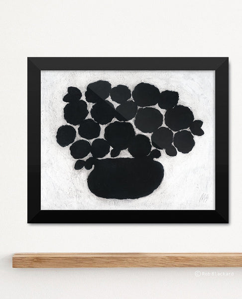 Black Flower Pot Art Print