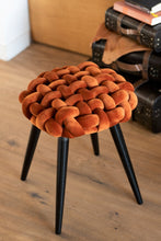 Load image into Gallery viewer, Woven Velvet Orange Stool