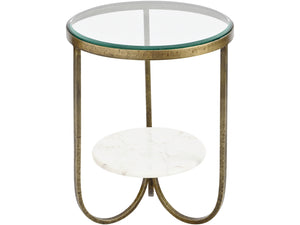 Nolita White Marble & Antique Gold Side Table