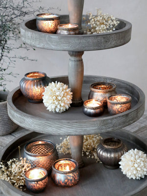 Tealight Holder with Pearl Edge