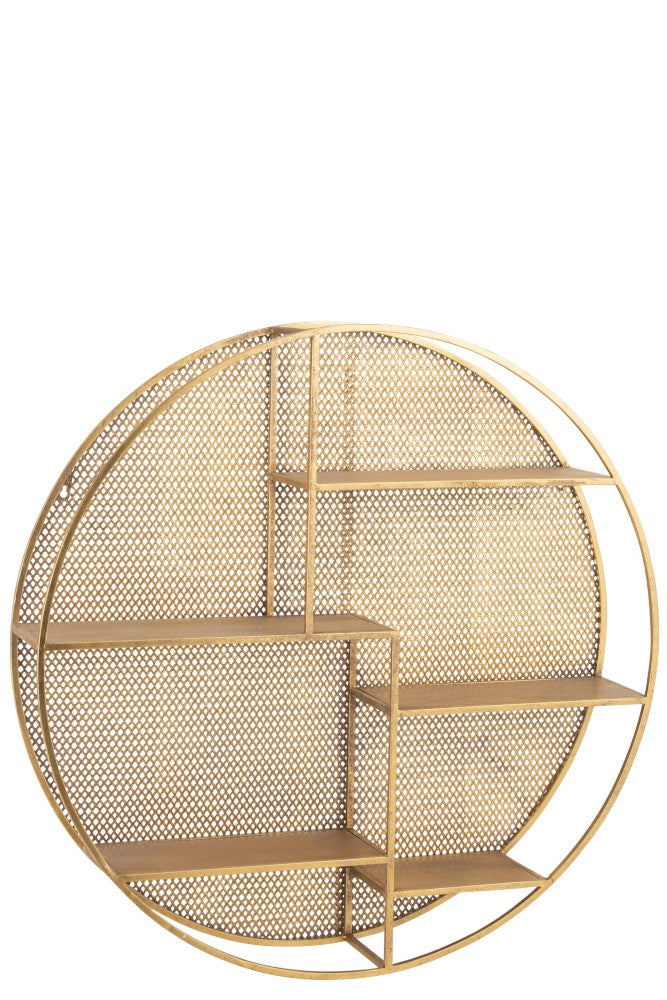 Gold Metal Round Wall Rack