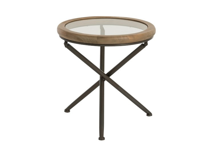 Round Glass Top Lamp Table