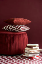 Load image into Gallery viewer, Round Velvet Footstool Burgundy