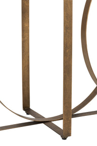 Metal & Glass Console Table - Old Gold