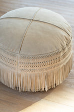 Load image into Gallery viewer, Round Leather Light Grey Footstool
