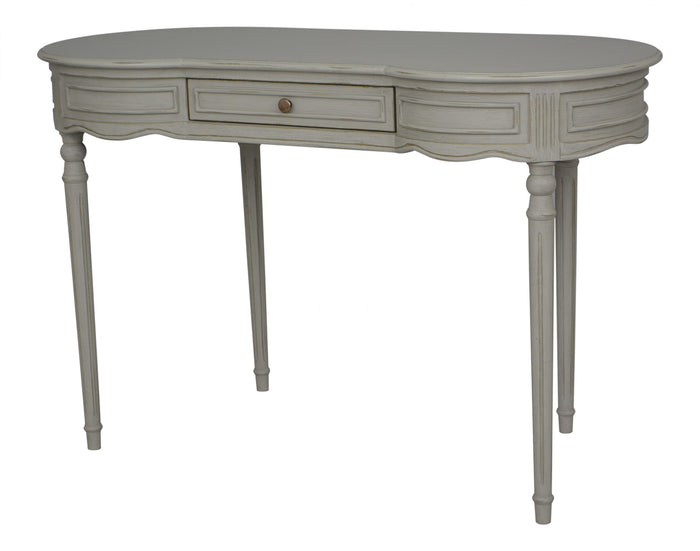 Vintage Writing Desk  Grey With Gold Distress