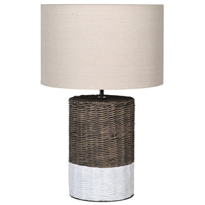 Basket Effect Lamp with White Base