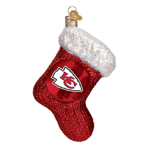 Kansas City Chiefs Stocking Glass Ornament