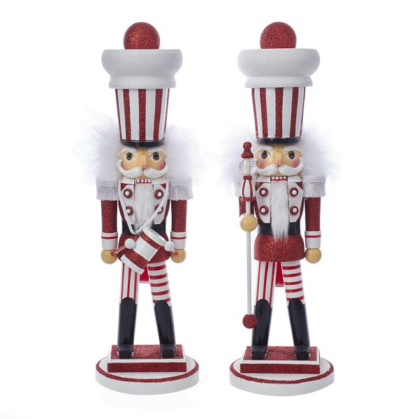 Red and White Soldier Nutcrackers, 2 Assorted.