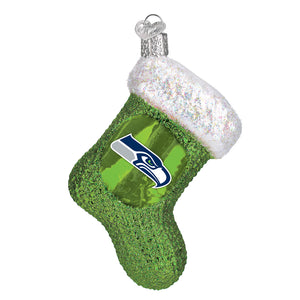 Seattle Seahawks Stocking Glass Ornament