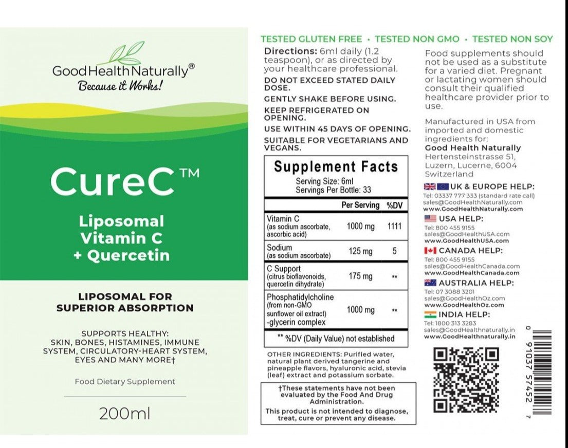 CureC Liposomal Vitamin C 200 ml