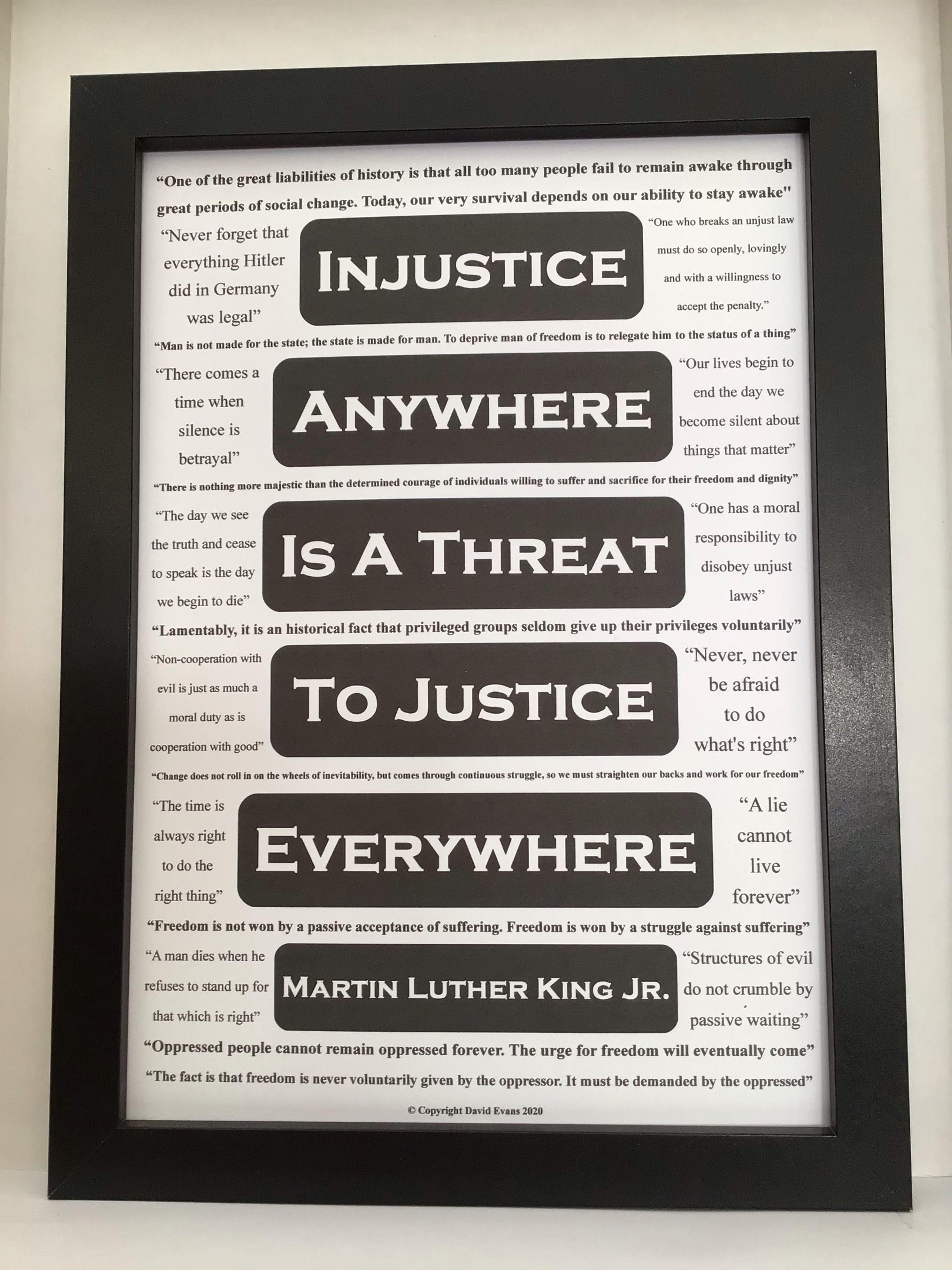 Inspirational poster featuring 21 relevant Martin Luther King quotes about justice and freedom