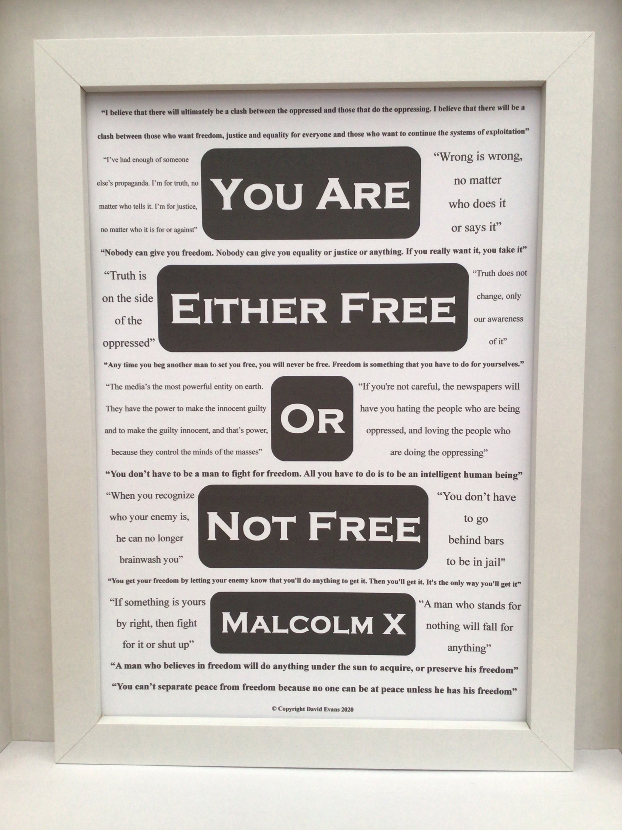 Inspirational poster featuring 18 relevant Malcolm X quotes about truth, freedom and justice