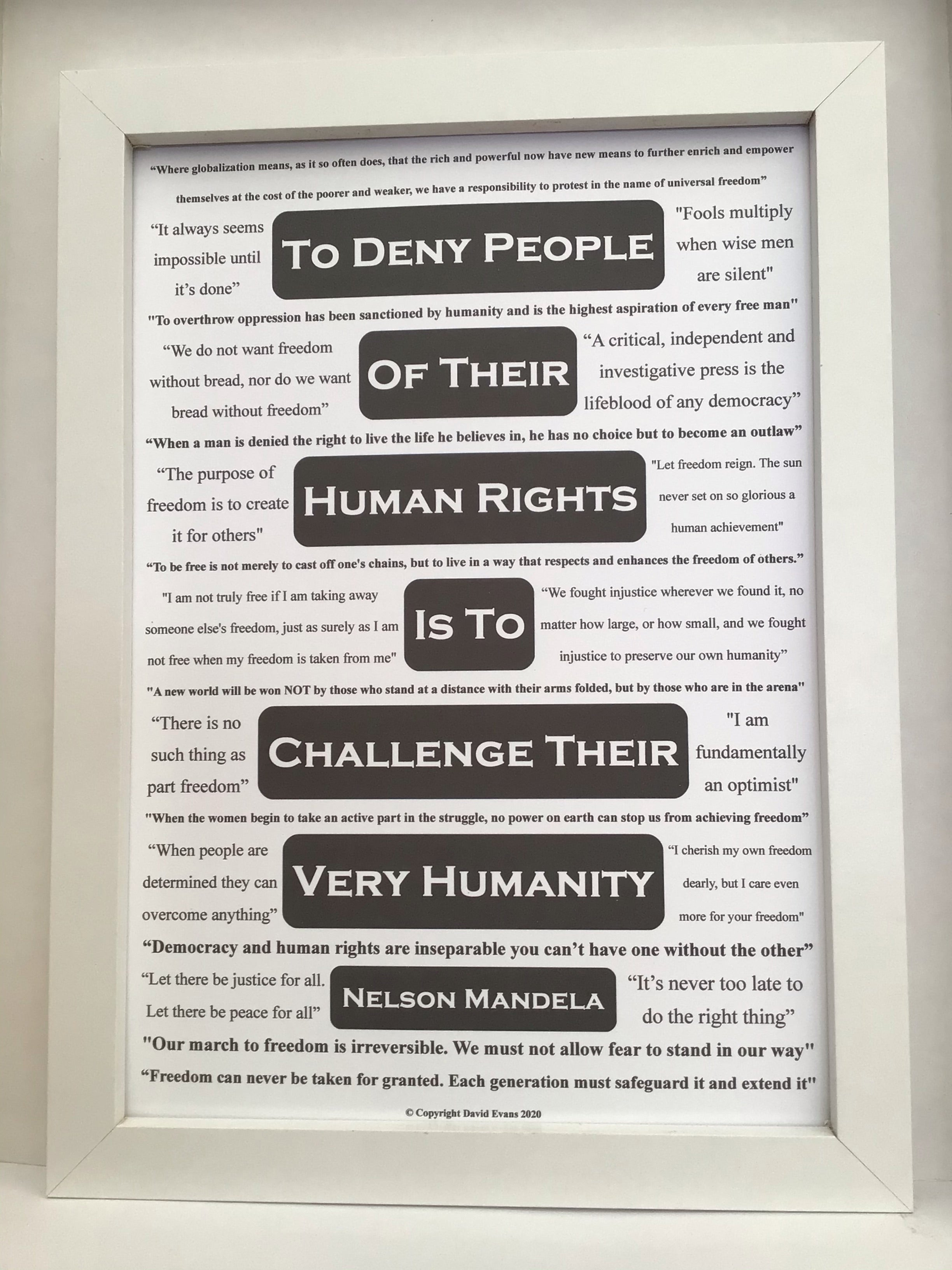 Inspirational poster featuring 24 relevant Nelson Mandela quotes about rights and freedoms