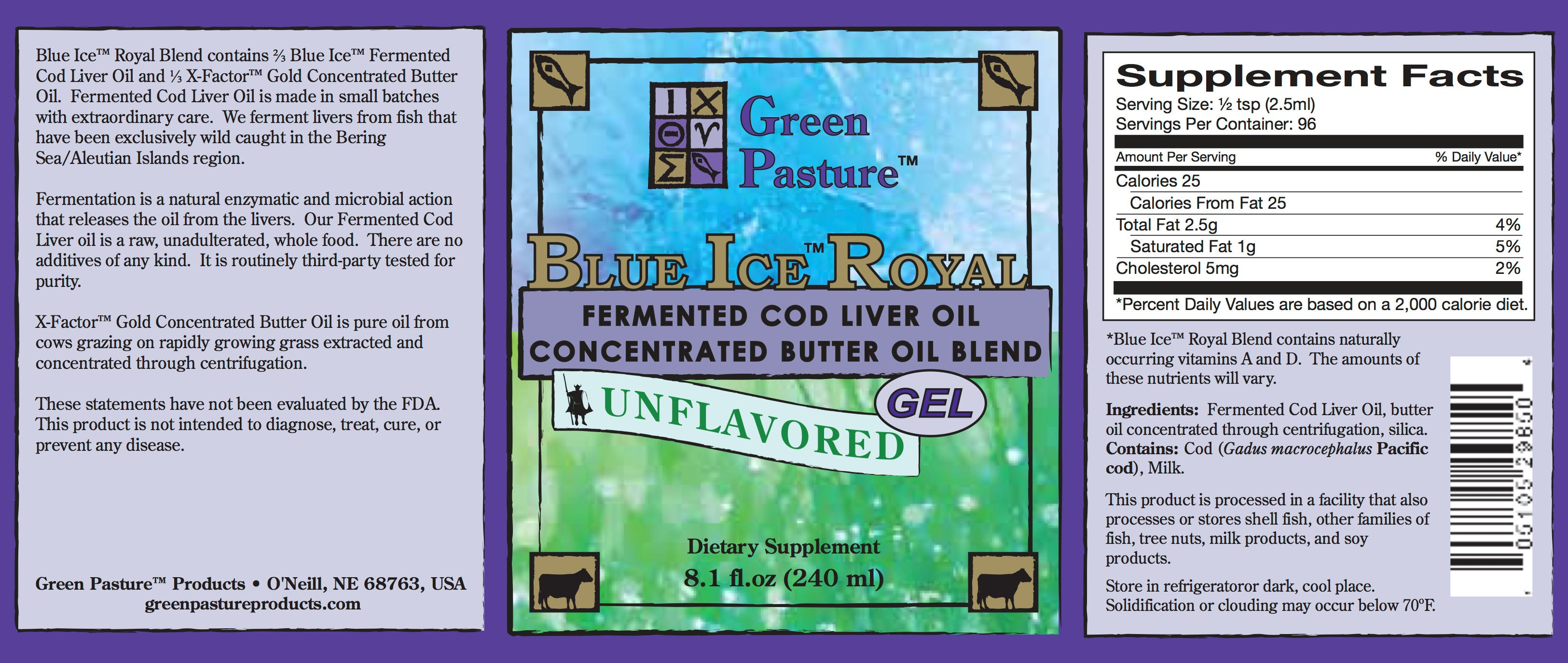Blue Ice Royal Fermented Cod Liver Oil and High Vitamin Butter Oil Gel - Unflavoured