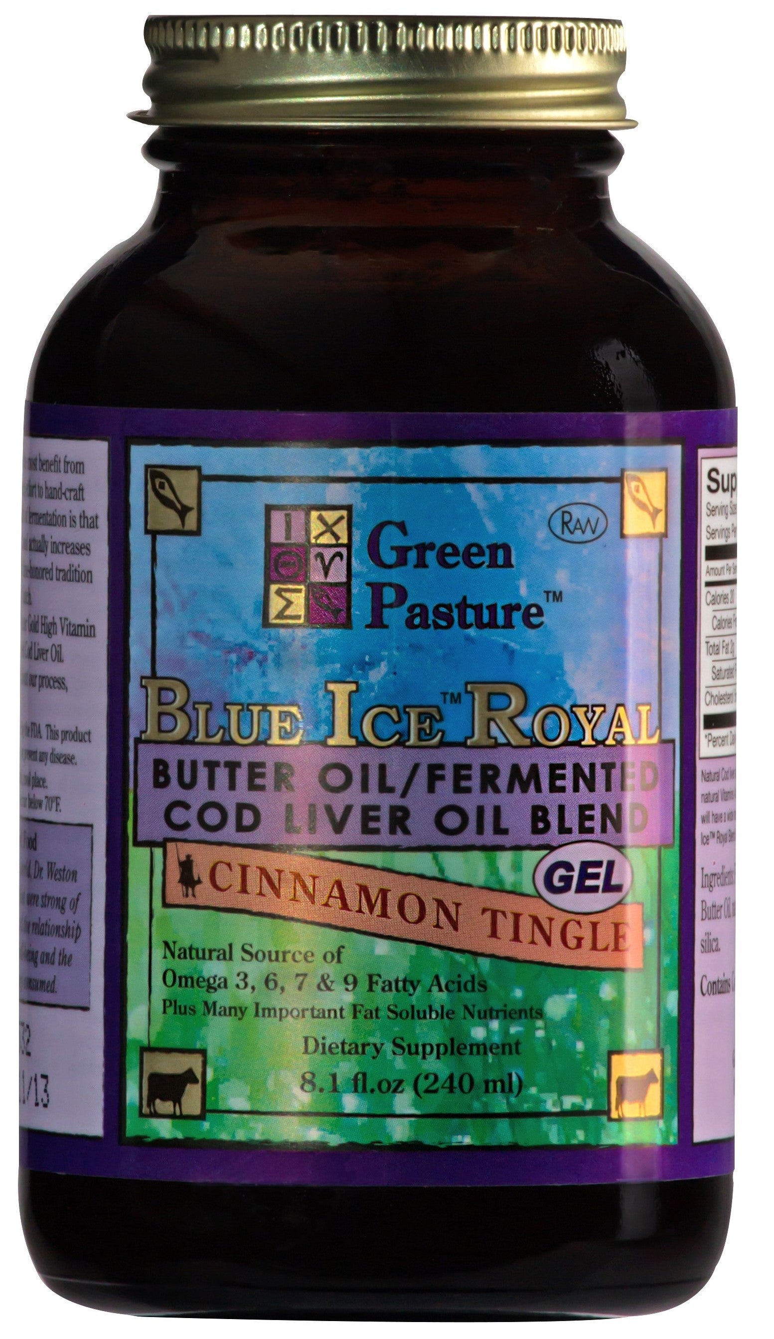 Blue Ice Royal Fermented Cod Liver Oil and High Vitamin Butter Oil Gel  240ml - Cinnamon
