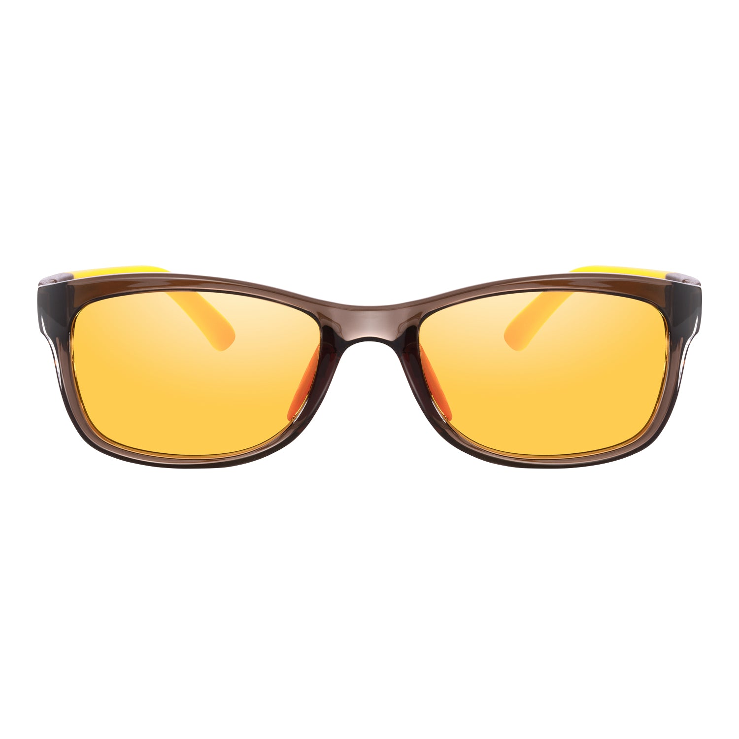 PRiSMA KiDS Blue Light Blocking Glasses for Children & Small Adults - Strong and flexible nylon frame  - brown & yellow