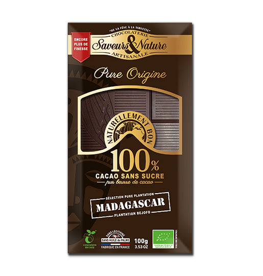 Organic 100% Cocoa Chocolate Bar - Single Origin - MADAGASCAR - SUGAR FREE 100g