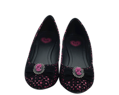 Velvet Skeleton Ballet Flats Black & Burgundy