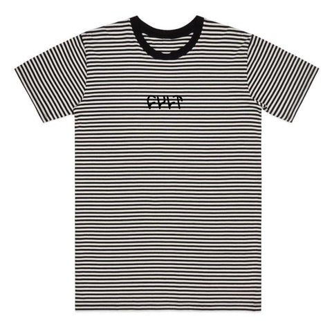 Cult Stripe Logo T-Shirt - Black And White