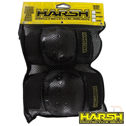 Harsh MX Youth Knee and Elbow Combo Padset at 9.99. Quality Knee Guards from Waller BMX.