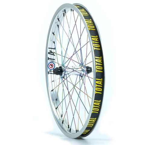 "Total BMX Techfire Front Wheel - Silver With Rainbow Spokes 10mm (3/8"") at . Quality Front Wheels from Waller BMX."