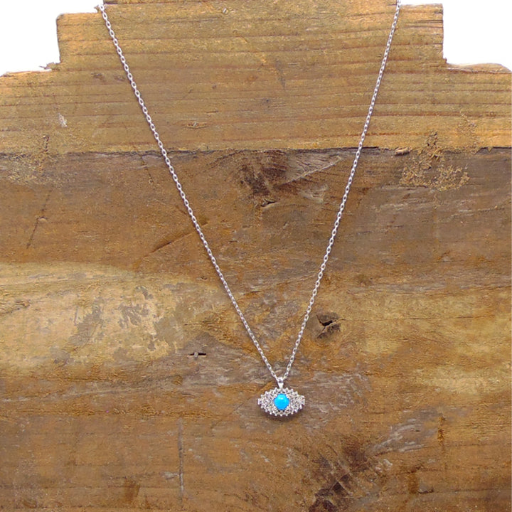 Min & Nat sterling silver evil eye necklace