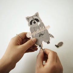 Animal Ornament Card : Racoon