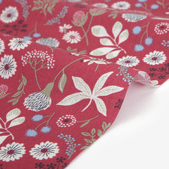 394 Fluttering Flower : Red 1600mm Cotton 30C Fabric