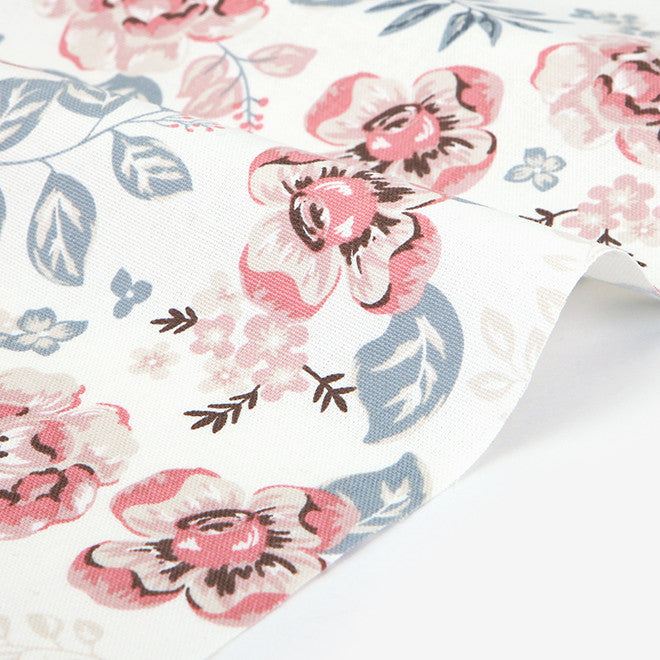 397 Vintage Flower : Pink 1500mm Cotton Oxford Fabric