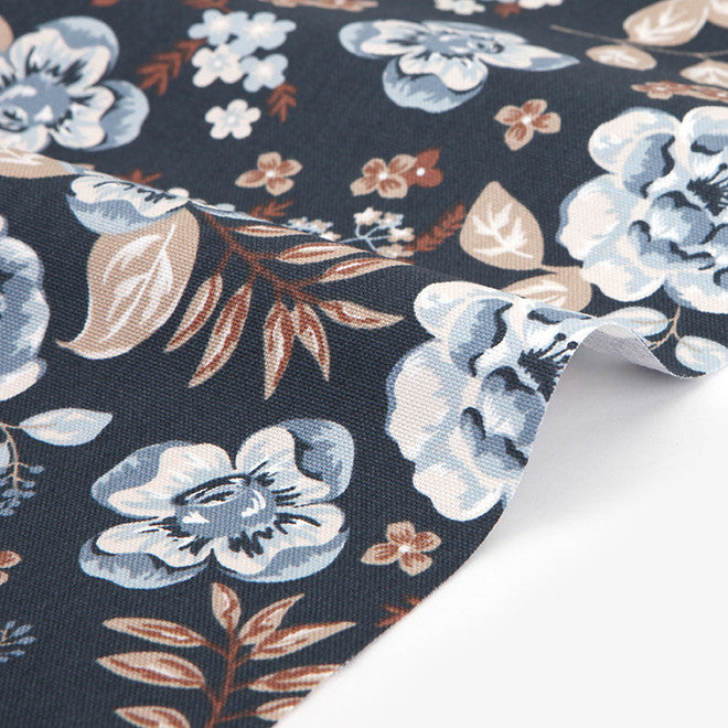 398 Vintage Flower : Blue 1500mm Cotton Oxford Fabric