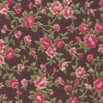 Adhesive Fabric A4 1pk : Antique Flower - Dark Brown