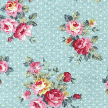 Adhesive Fabric A4 1pk : French Rose - Sky Blue