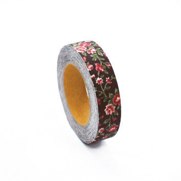 Fabric Tape : Antique Flower - Dark Brown