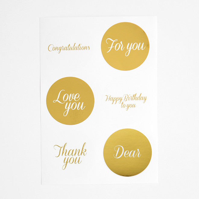 Message Stickers : Gold - 12pk