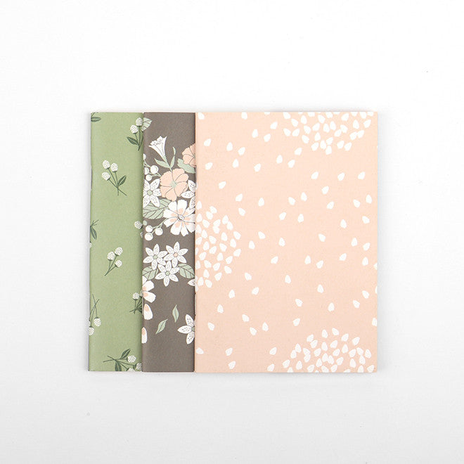 Pocket Note Books : Flowers Fall - 3pk