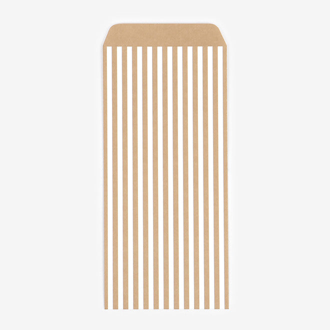 Patterned Envelopes DL : Gold Stripe - 10pk