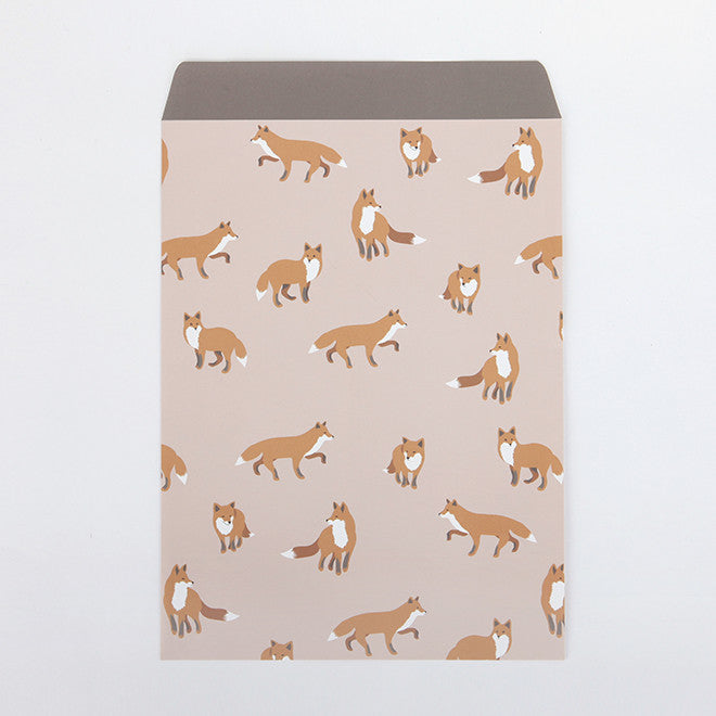 Patterned Envelopes Large : Winter Fox - 5pk