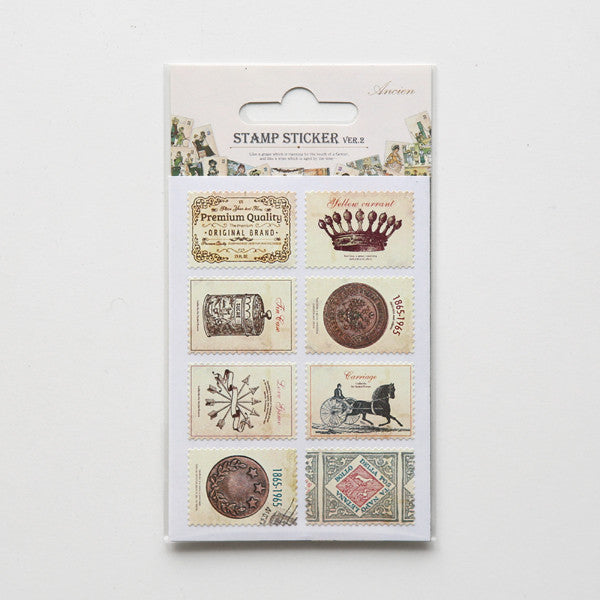Stamp Stickers : Antique - 16pk