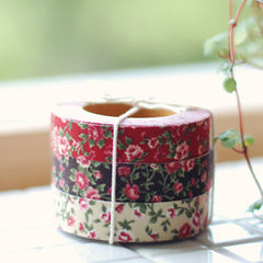 Fabric Tape : Antique Flower - Red