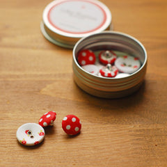 Buttons : Red Ribbon - 10pk