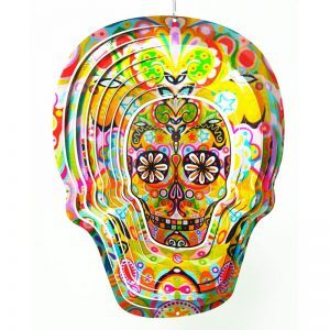 "Spinart 12"" Skull Multicolour Windspinner"