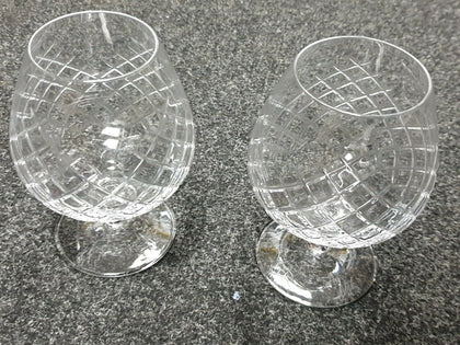 Pair of Crystal Brandy Glasses. Good Quality