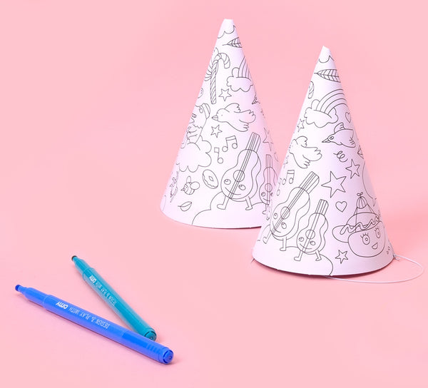 Colouring Party Hats - Set of 8