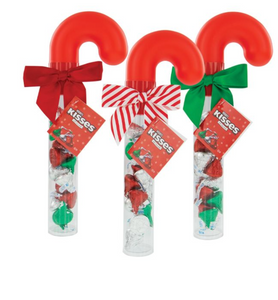 CANDY CANE TUBE FILLED WITH HERSHEY'S KISSES