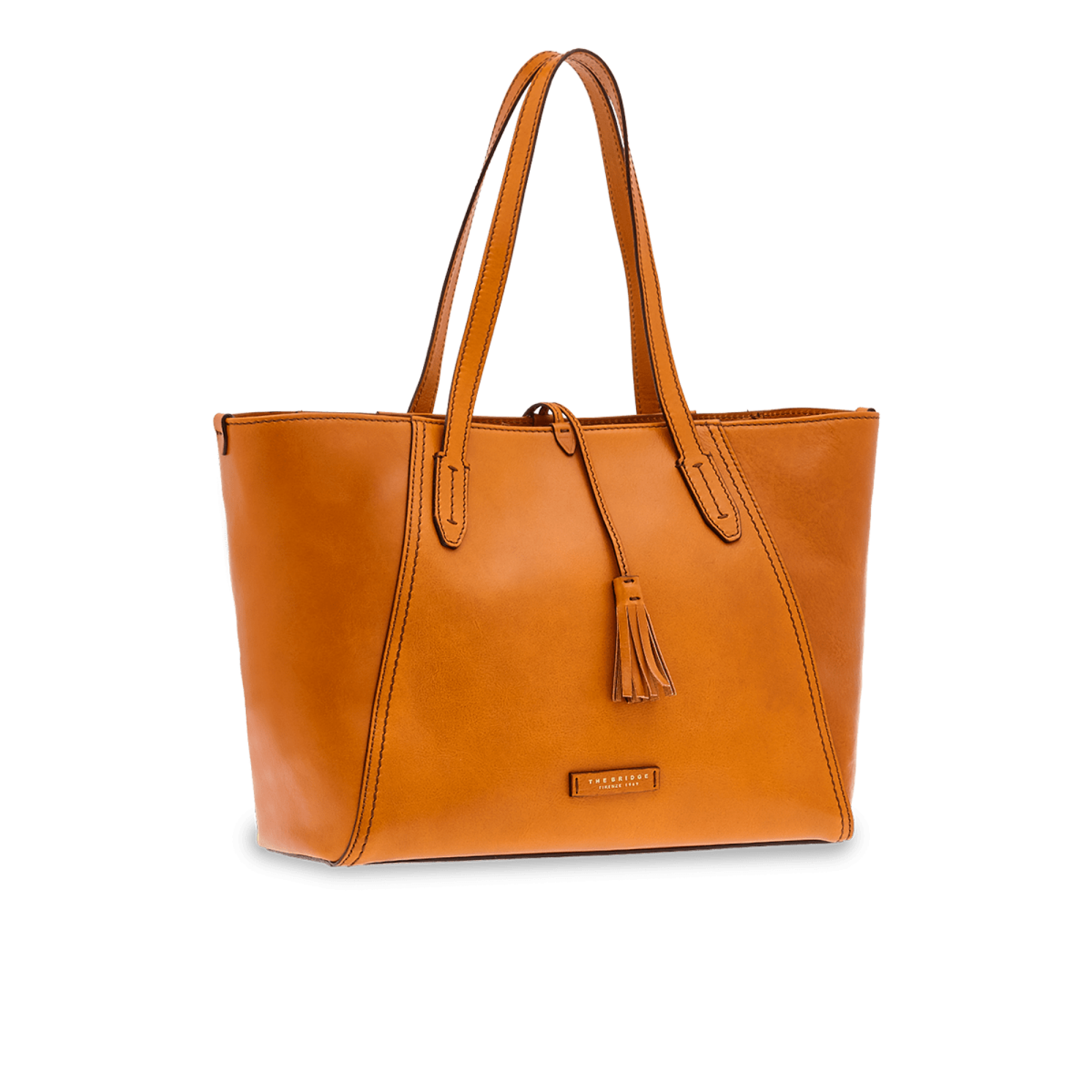The Bridge Florentin Leather Shopper Bag for Ladies in Cognac
