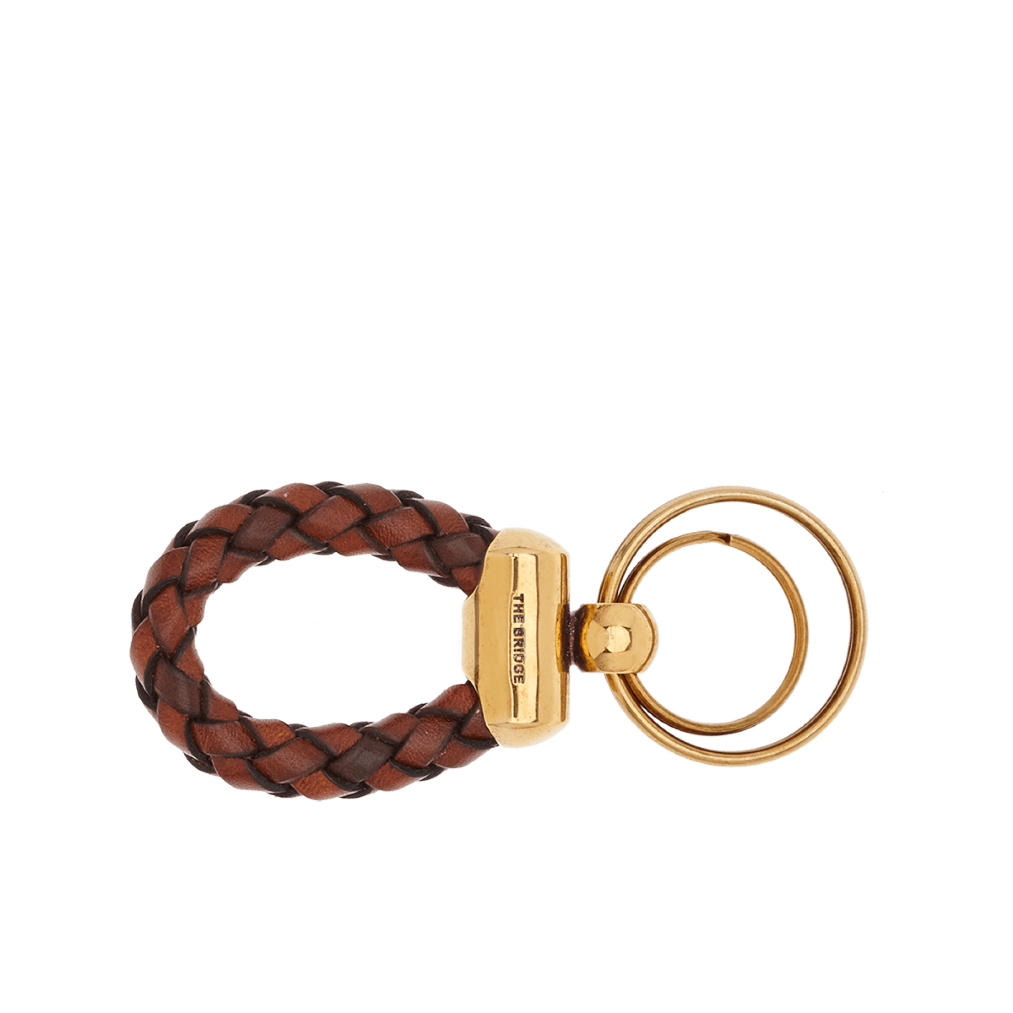 The Bridge Uomo Leather Keyring in Brown Gold