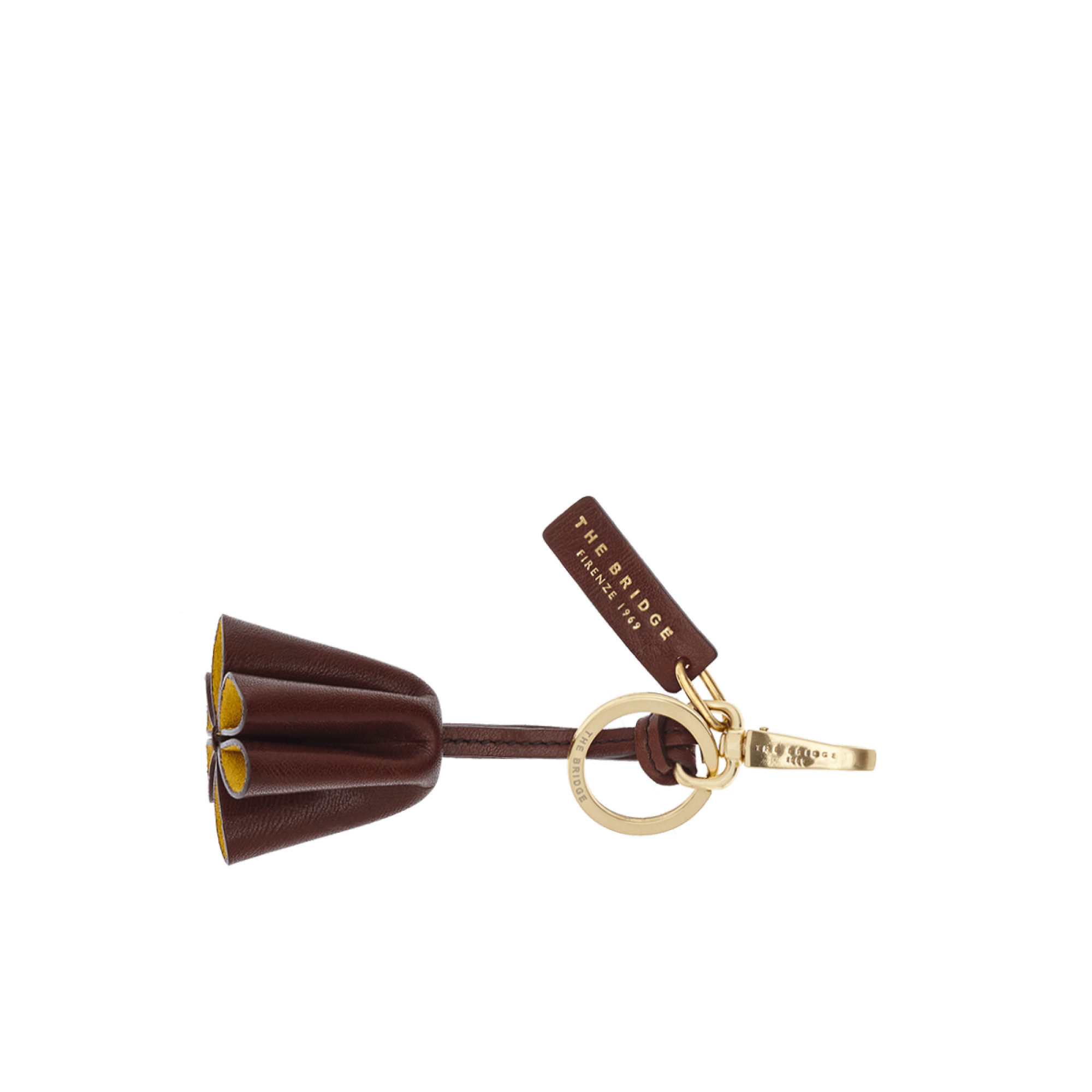 The Bridge Florentin Leather Keyring in Brown